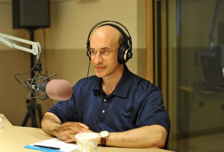 Harvard Economist Ken Rogoff in the studio with Tom Ashbrook. (Alex Kingsbury / WBUR)