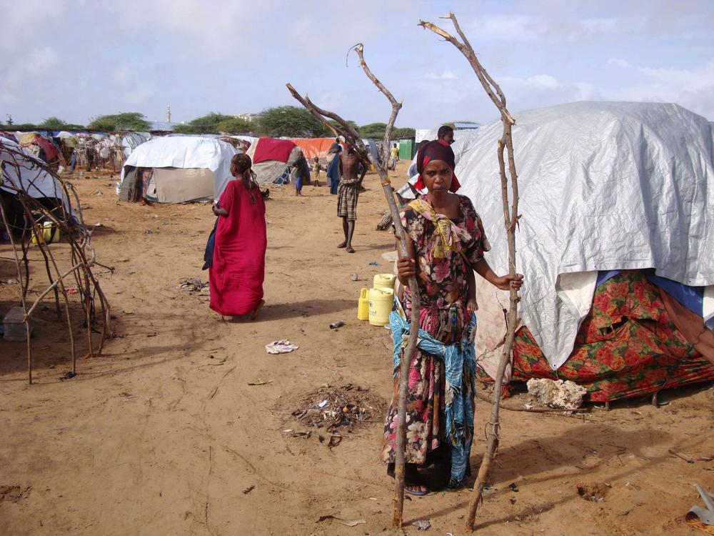 A woman from southern Somalia holds tree branches for her makeshift shelter at a refugee camp in Mogadishu, Somalia. (AP)