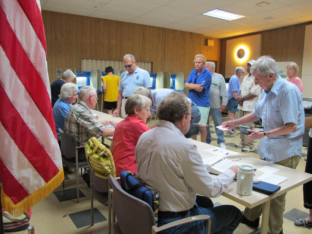 Residents in Glendale, Wis., line up in July to vote in a Democratic primary election ahead of this month's recall election. (AP)