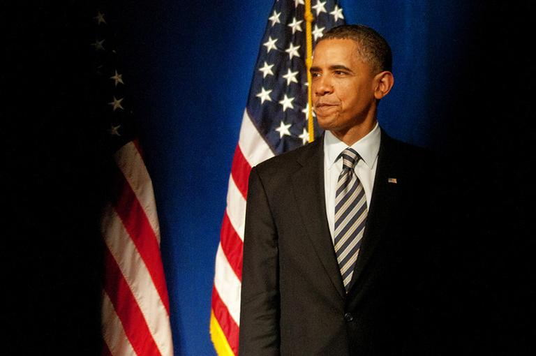 President Obama speaks in New York City this spring. (Eva Brams/photo illustration)