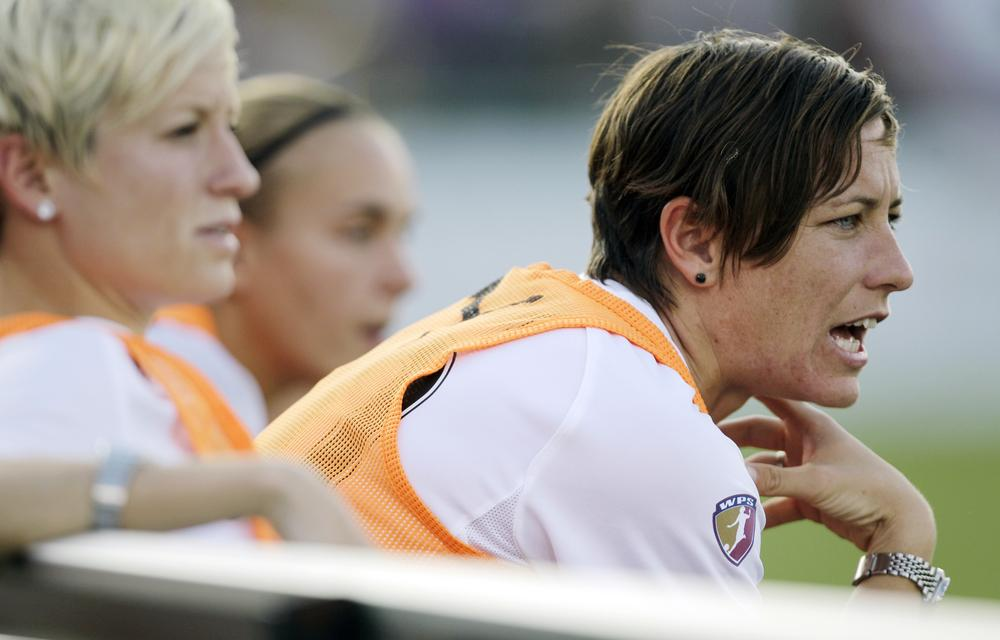 The magicJack's Abby Wambach yells to teammates during a Women's Professional Soccer league match against the Western New York Flash, Wednesday, July 20, 2011, in Rochester, N.Y. (AP)