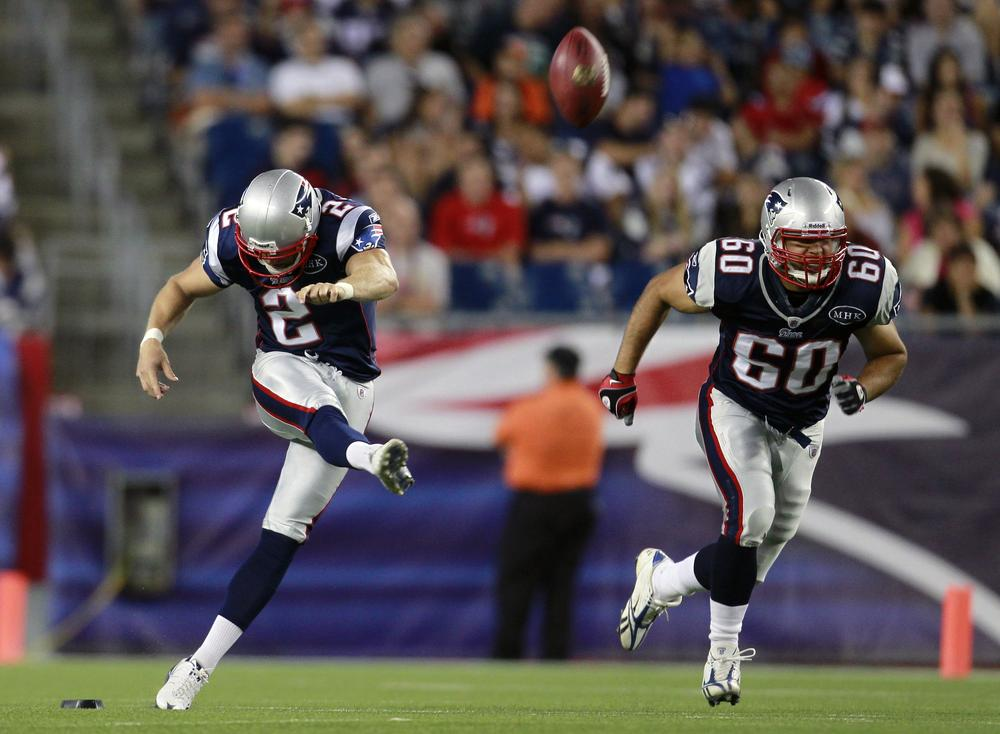 New England Patriots place kicker Chris Koepplin (2) kicks off in the third quarter of the game against the Jacksonville Jaguars in Foxborough, Mass. on Thursday. (AP)
