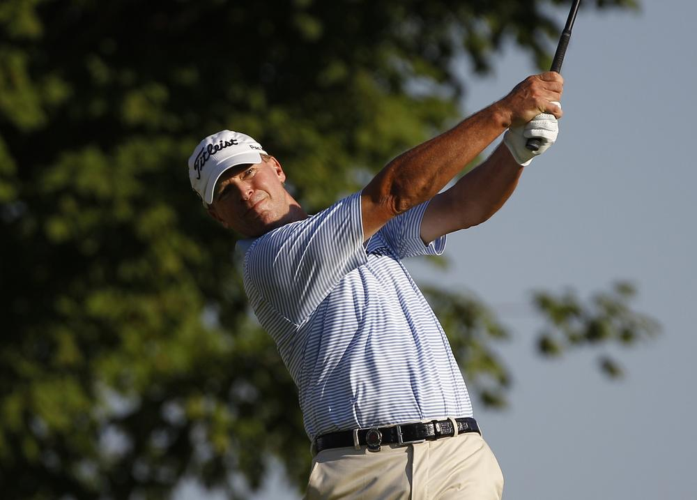 Steve Stricker hits a drive during the first round of the PGA Championship Thursday in Johns Creek, Ga. (AP)
