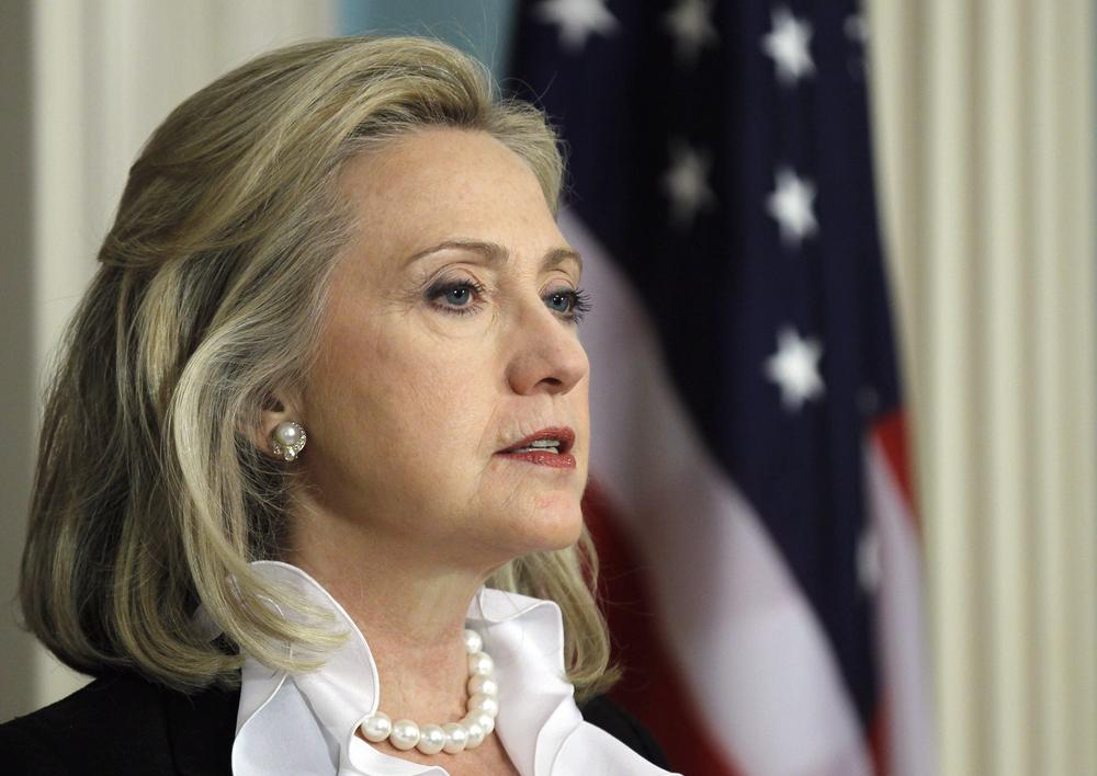 Secretary of State Hillary Rodham Clinton makes a statement about Syria, Thursday, in Washington. (AP)