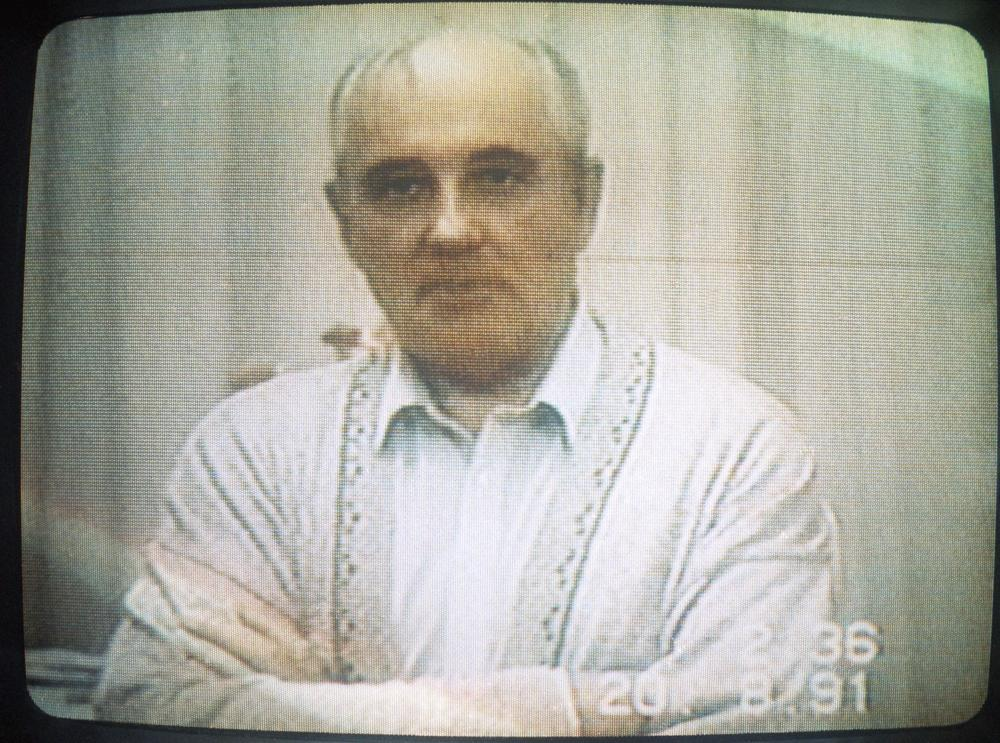 Soviet President Mikhail Gorbachev is seen on a tape filmed by his son-in-law while the Soviet president was held captive in the Crimea during the recent failed coup attempt. (AP)