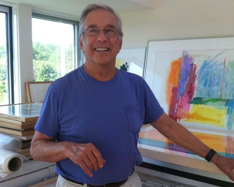 Sam Feldman, in his late wife Gretchen's art studio. She died of cancer in 2008. (Lisa Tobin/WBUR)