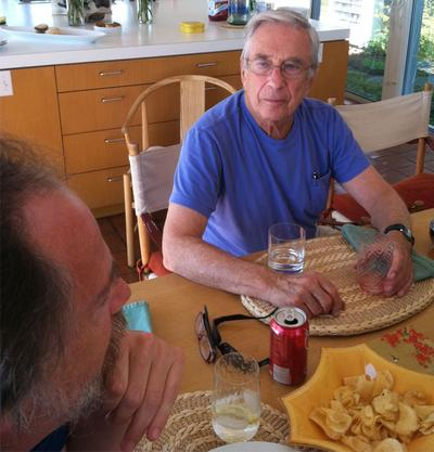 The men meet in Sam's kitchen in his Martha's Vineyard home. (Lisa Tobin/WBUR)
