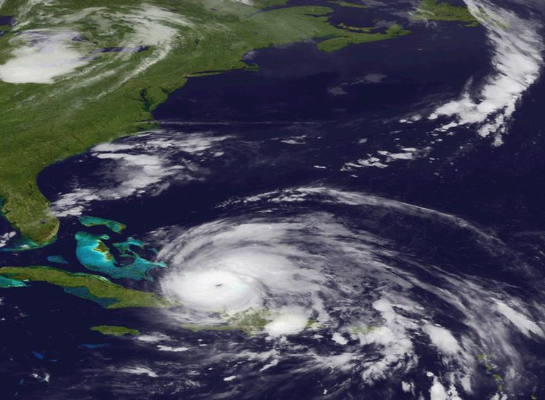An image from the National Oceanic and Atmospheric Administration shows Hurricane Irene on Wednesday as it moves north from the Dominican Republic. (AP)
