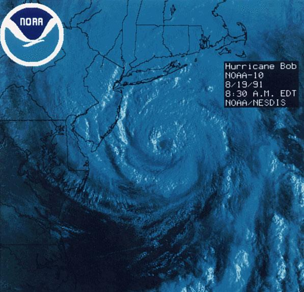 This file image shows Hurricane Bob as it approaches New England. (Wikipedia)