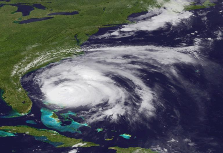 Hurricane Irene is expected to follow a path up the East Coast. This image from NOAA shows the storm Friday. (AP)