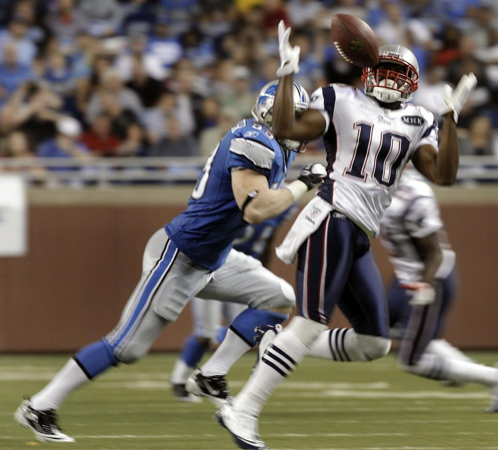 New England Patriots wide receiver Darnell Jenkins (10) bobbles a reception against the Detroit Lions in the second half during an NFL preseason football game in Detroit on Saturday. (AP)