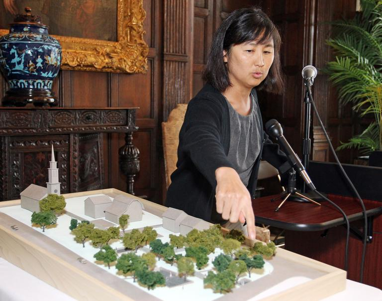Maya Lin discusses her redesign of Queen Anne Square during a press conference in Newport, RI, Monday, June 6, 2011. Lin collaborated with landscape artist Edwina von Gal, not pictured, in the art installation located at the park. (AP)