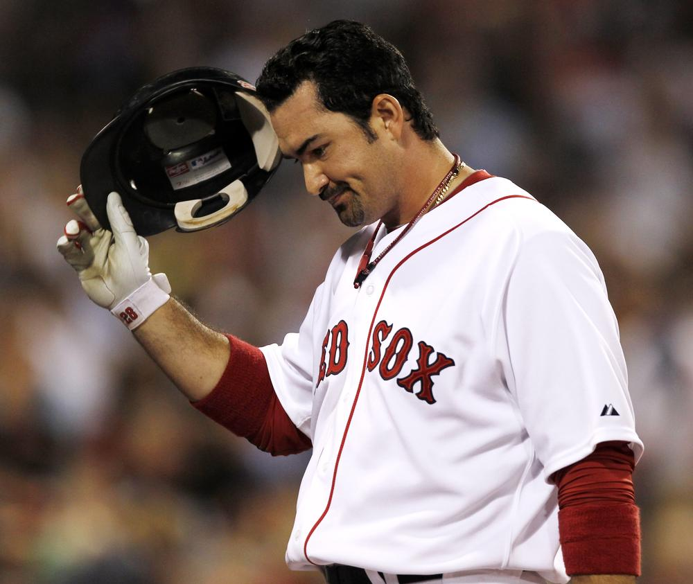 Red Sox first baseman Adrian Gonzalez heads back to the dugout after a pop fly Tuesday. (AP)
