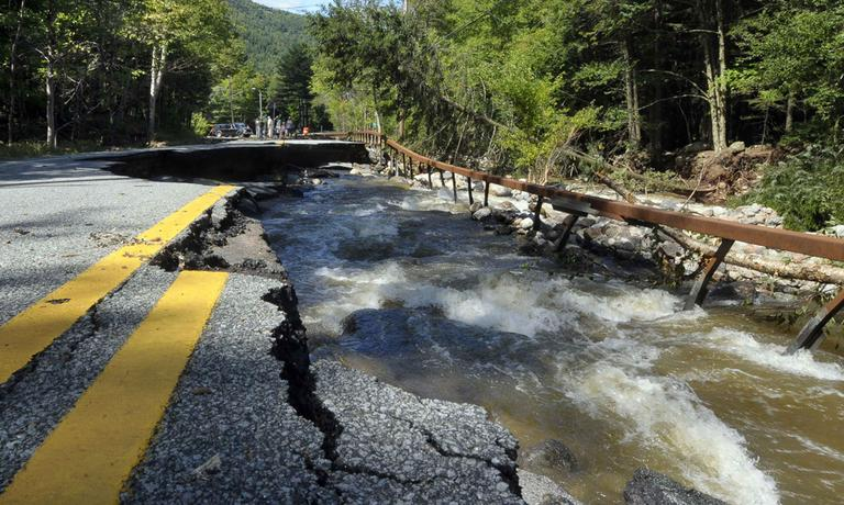 Damage caused by Tropical Storm Irene on Route 73 in St. Huberts, N.Y., Monday, Aug. 29, 2011. (AP)