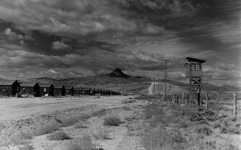A Japanese internment camp guard tower at Heart Mountain.  (National Archives)