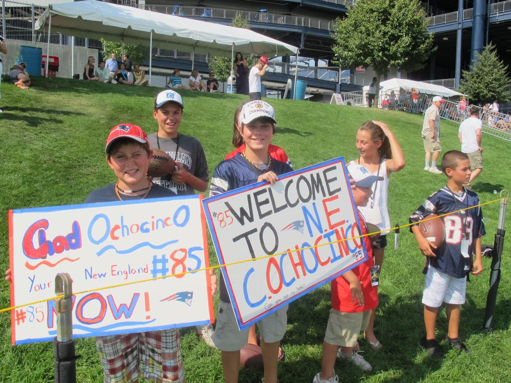 Young New England Patriots fans offered a warm welcome to newly acquired wide receiver Chad Ochocinco during training camp on Tuesday. (Bill Littlefield/Only A Game)
