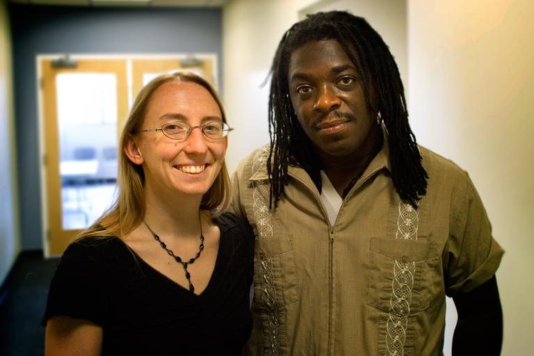 Regie Gibson and Simone Beaubien in the studios of WBUR shortly before appearing on On Point. (Jesse Costa/WBUR)