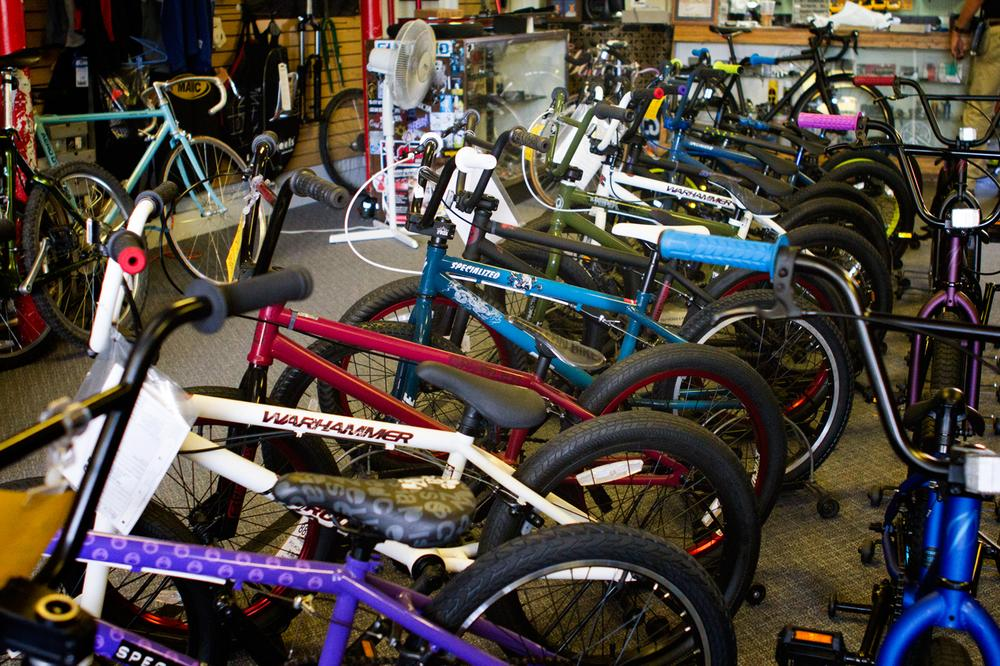Bicycles wait for customers at Tri-City Bicycles. (Jesse Costa/WBUR)