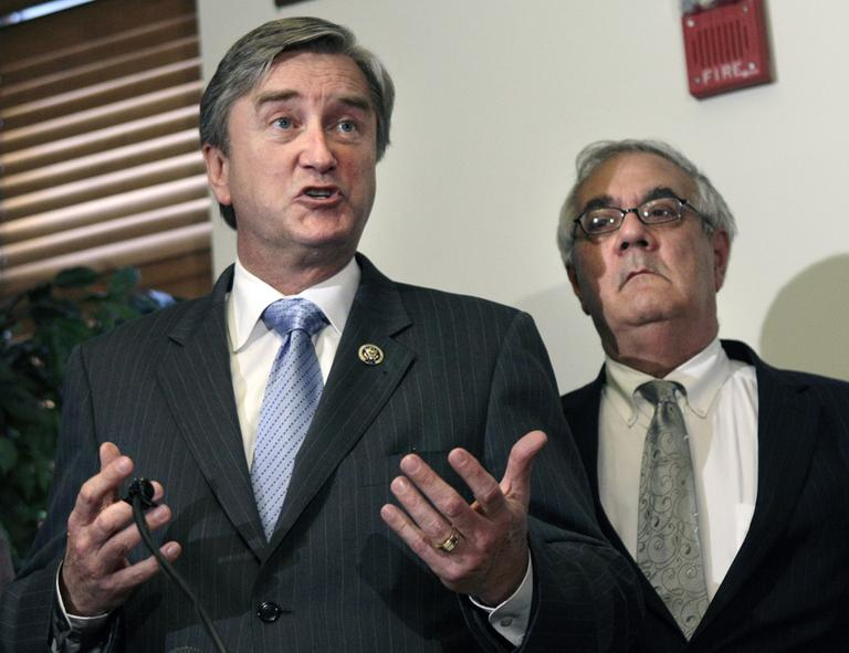 Rep. John Tierney, left, and Rep. Barney Frank speak about President Barack Obama's healthcare reform plan in March 2010. (AP)