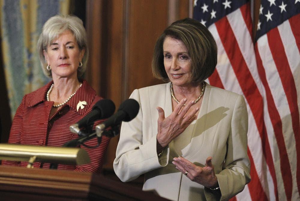 Health and Human Services Secretary Kathleen Sebelius (left) and House Minority Leader Nancy Pelosi both attended Trinity Washington University. (AP)