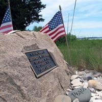 The beach in Pocasset is dedicated to Jeff Coombs. (Dan Mauzy/WBUR)