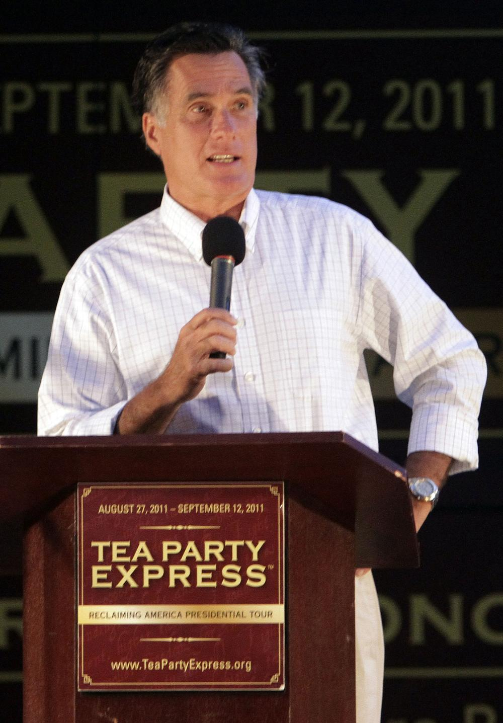Republican presidential candidate, former Massachusetts Gov. Mitt Romney  speaks at a Tea Party Express rally, on Sunday,in Concord, N.H. (AP)