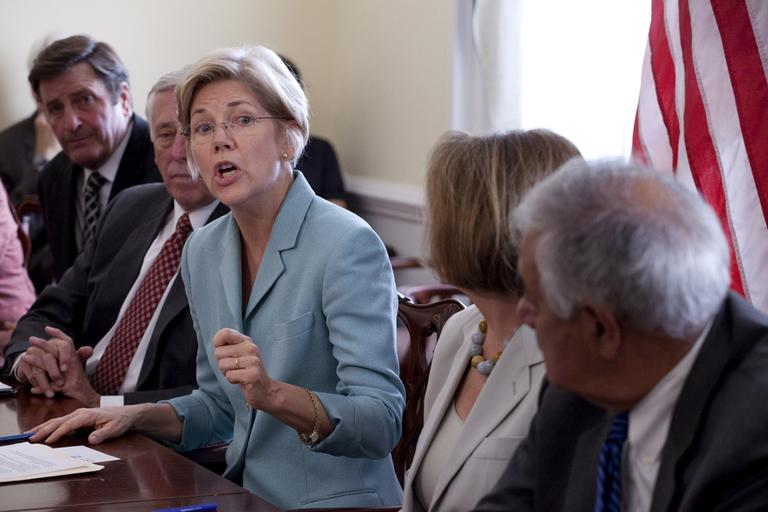 Elizabeth Warren, then an adviser to President Obama, speaks on Capitol Hill in Washington in July. (AP)