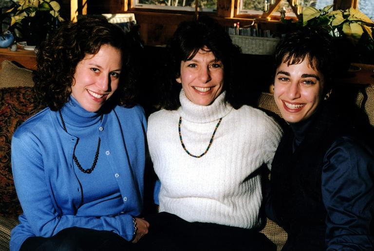 Sisters Danielle and Carie Lemack (outside) with their mother, Judy Larocque, on Christmas Day, 2000. (Courtesy)