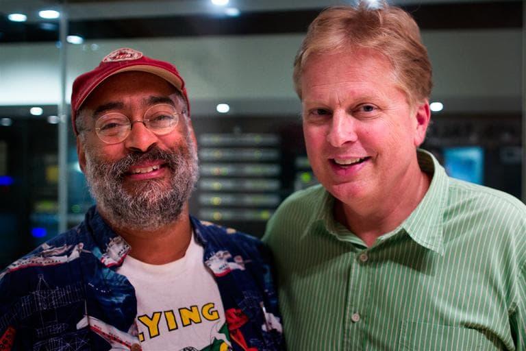 Tom Ashbrook with Vance Gilbert (Jesse Costa / WBUR)