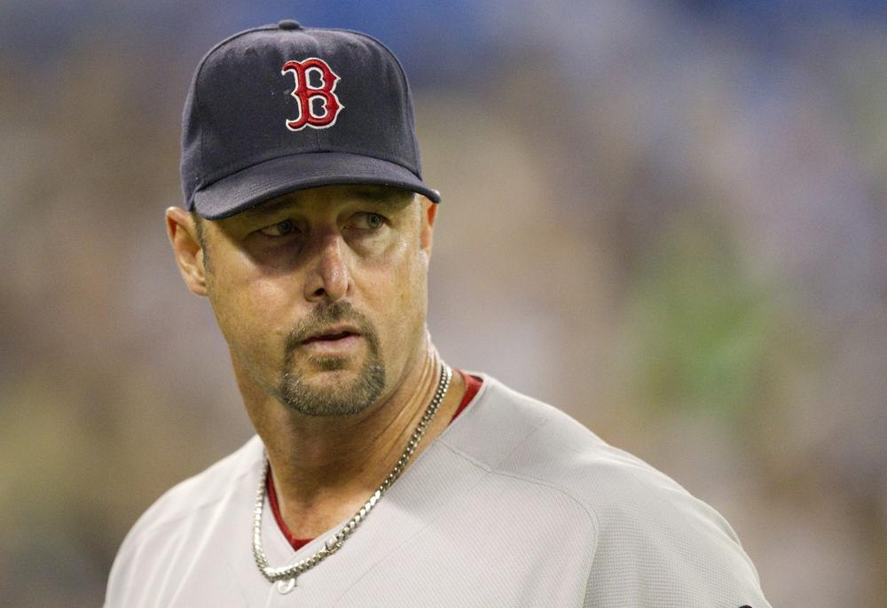 Sox starting pitcher Tim Wakefield leaves the field after working against the Toronto Blue Jays in MLB baseball action in Toronto Wednesday. (AP)
