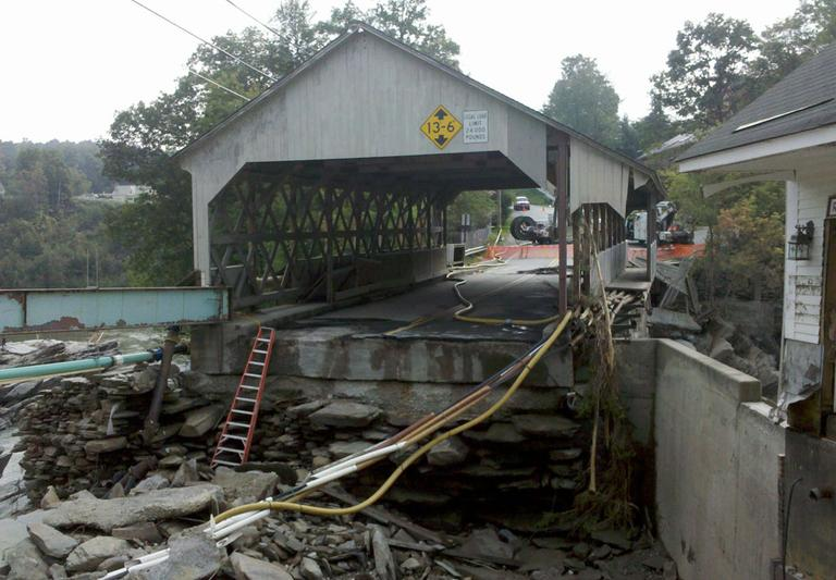 A damaged covered bridge in Quechee (Mike Farber)