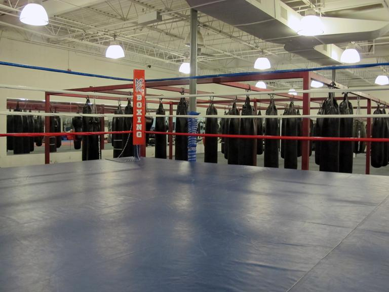 MK Boxing in Woburn, where Christopher Mello's coach has worked with other prospective boxers since the closing of the Watertown gym where Mello trained. (Dan Mauzy/WBUR)