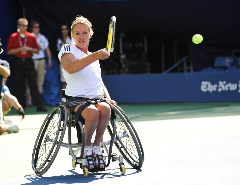 Five-time Paralympics tennis champion Esther Vergeer participates in Arthur Ashe Kids Day in New York in 2010. (AP)