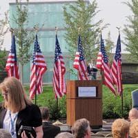 Logan Airport's 9/11 Memorial sits just next to the airport's Hilton hotel. (Meghna Chakrabarti/WBUR)