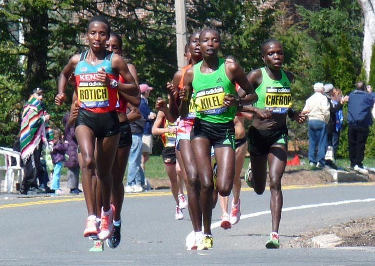Eventual winner Caroline Kilel leads the elite women runners through Newton in the 2011 Boston Marathon in April. (Lorianne DiSabato/Flickr)
