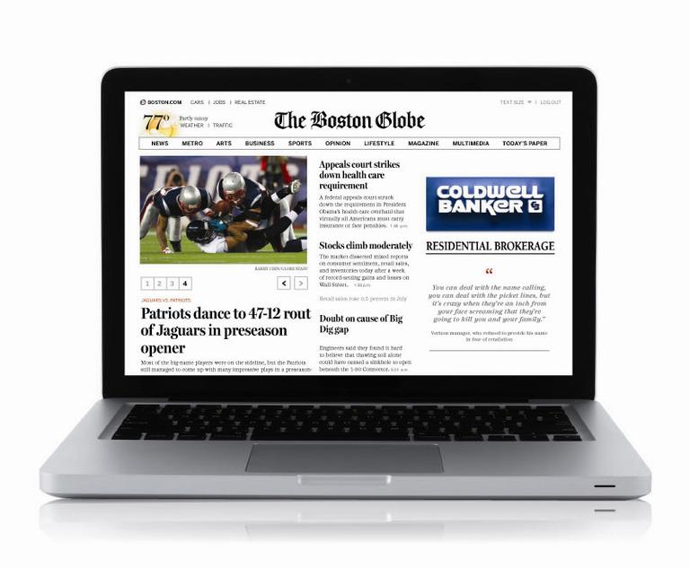 The homepage of the Globe's new subscription-only site (Courtesy of The Boston Globe)