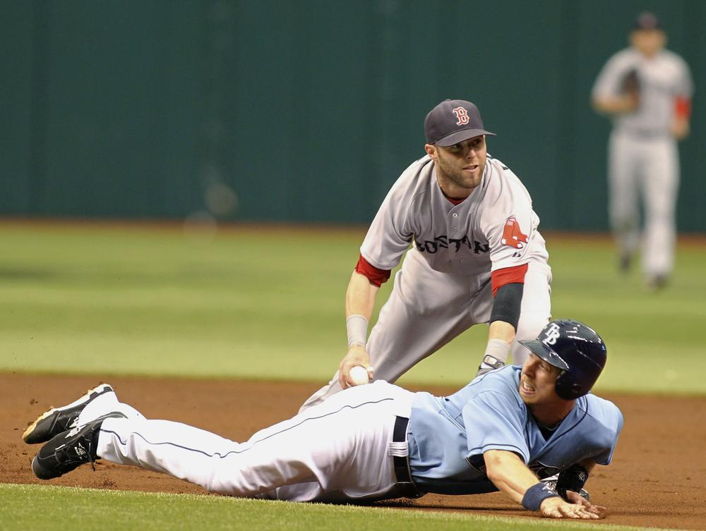 Boston's second baseman Dustin Pedroia tags out Tampa Bay's Ben Zobrist during the game on Sunday in St. Petersburg, Fla. (AP)