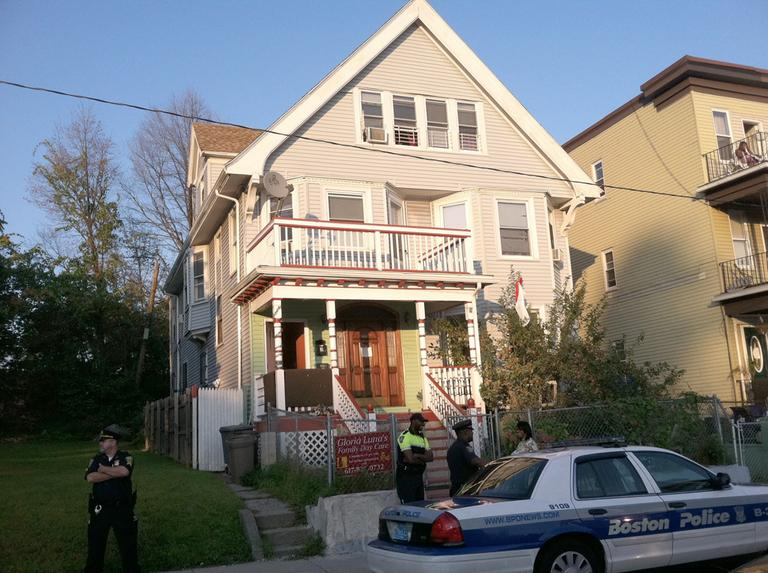 The child was found in a van parked at 18 Floyd St. in Dorchester. (Delores Handy/WBUR)