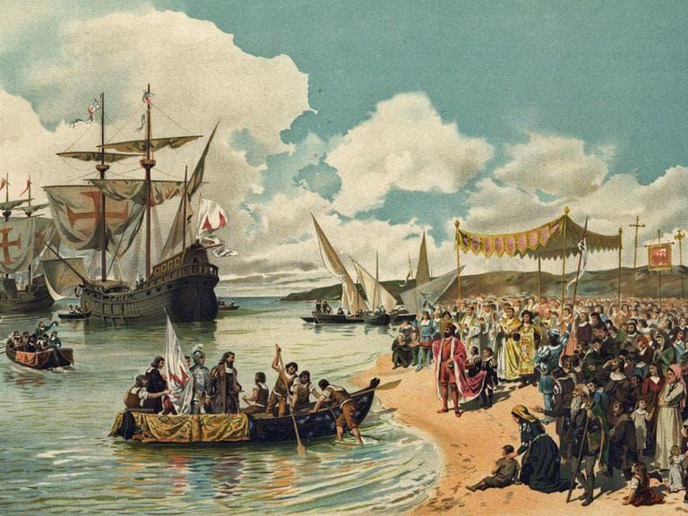 """""""A chegada de Vasco da Gama a Calicute em 1498,"""" by Alfredo Roque Gameiro (1864-1935)."""