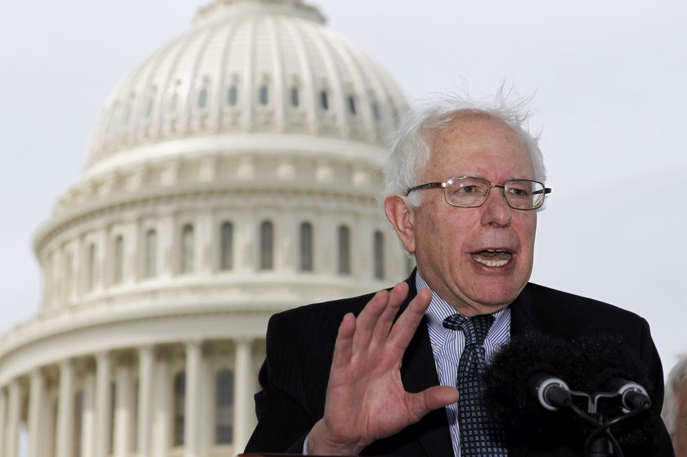 Sen. Bernie Sanders, I-Vt., gestures during a news conference on Capitol Hill in Washington. (AP)