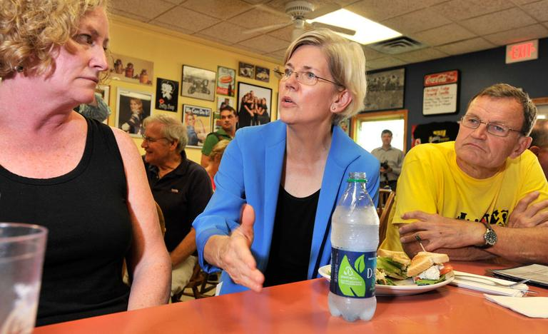 After opening her day of campaigning in South Boston, Harvard Law professor and Democratic Senate candidate Elizabeth Warren talked with patrons at J & M Diner in Framingham Wednesday. (AP)