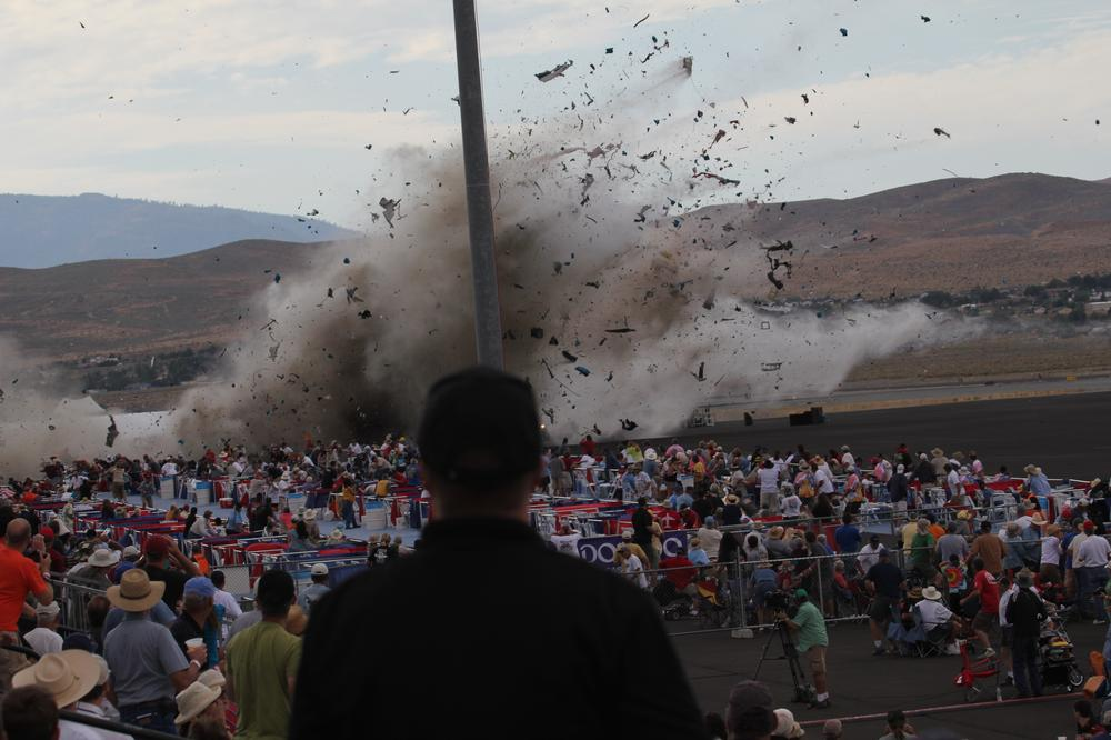 A P-51 Mustang airplane crashes into the edge of the grandstands at the Reno Air show on Friday. (AP)