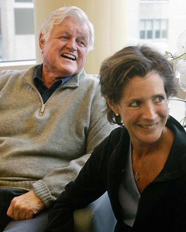 The late Sen. Ted Kennedy, with his daughter Kara in a family room at Mass General Hospital in Boston in 2008 (AP)