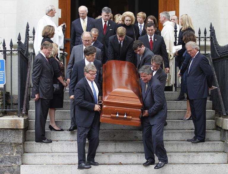 Pallbearers carry the casket of Kara Kennedy after funeral service at Holy Trinity Church in Washington, Wednesday. (AP)