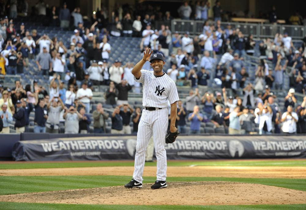 New York Yankees' closer Mariano Rivera receives cheers from the crowd in Yankee Stadium after recording his 602nd save Monday night against the Minnesota Twins. (AP)