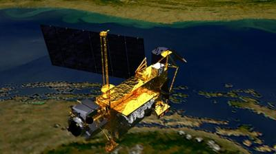 An artist's concept of the Upper Atmosphere Research Satellite  (UARS) satellite in space. The 6 1/2-ton satellite was deployed from space shuttle Discovery in 1991 and decommissioned in December 2005. (NASA)