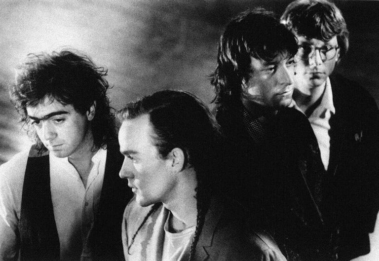 "Alternative rock band R.E.M., in 1988, when they released their album ""Green."" From left to right: Bill Berry, Michael Stipe, Peter Buck and Mike Mills. (AP)"