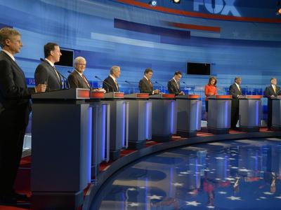 Republican presidential candidates at the Fox News/Google debate in Orlando, Fla., Thursday (AP)