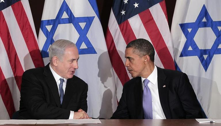 President Barack Obama shakes hands with Israeli Prime Minister Benjamin Netanyahu during their bilateral meeting at the UN Building on Wednesday. (AP)