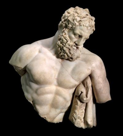 The top half of Weary Herakles, 2nd-century AD. (Courtesy of the MFA)